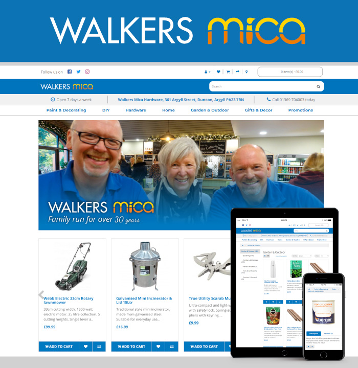 A new online shop for Walkers of Dunoon that integrates with their EPOS system and easily lists items from stock into their online shop