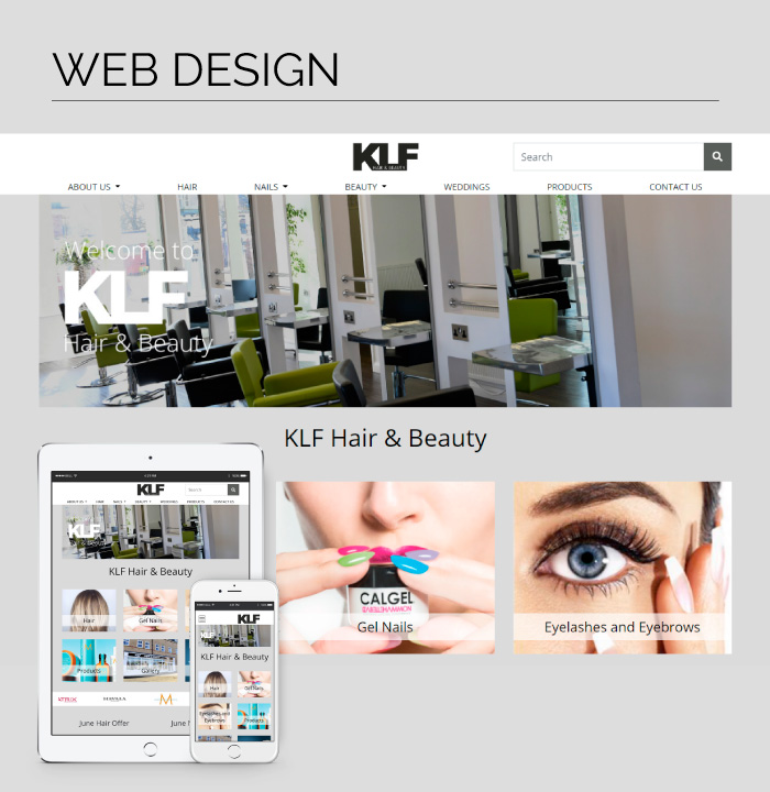 Mobile responsive web design for KLF Hair & Beauty, based in Madeley, Telford.