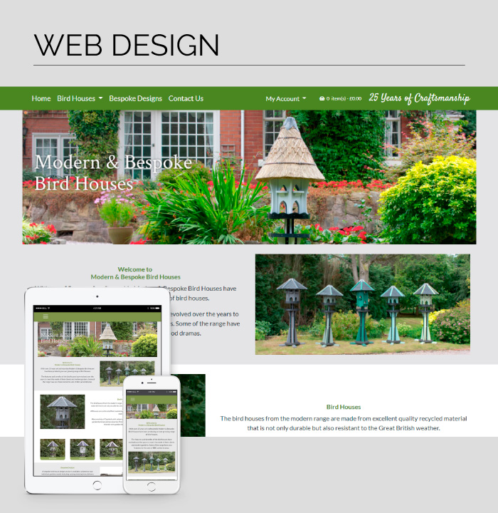 Mobile responsive web design for Modern & Bespoke Bird Houses.