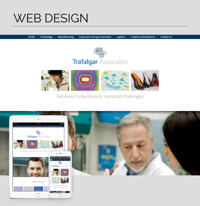 Mobile responsive web design for Trafalgar Associates based in Tennessee, USA.