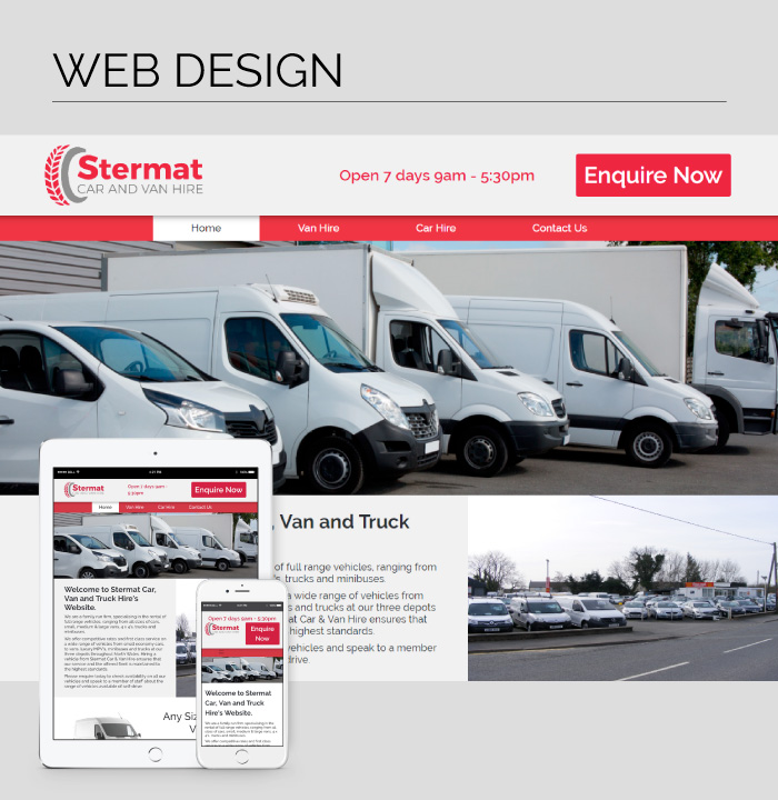 Mobile responsive web design for Stermat Car & Van Hire