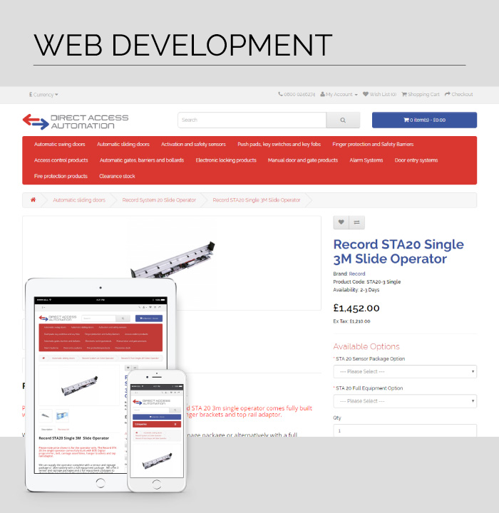 Web Development for Direct Access Automation, a leading UK based security product Distributor.