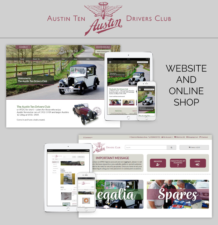 Website and online shop for the Austin Ten Drivers Club.